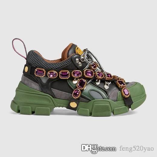 Calzado deportivo para hombres y mujeres en la primavera y el otoño de 2019. Diseñador de lujo. Calzado de diamante. Calzado de ocio deportivo de cuero transpirable 42 45