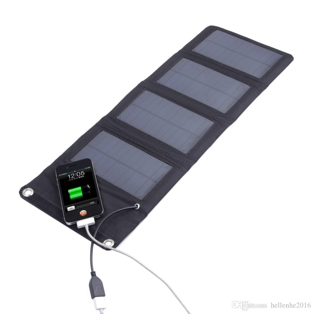 ارتفاع أحادية الألواح الشمسية 5 فولت 7 واط المحمولة الشمسية قوة البنك للطي حقيبة شحن الشمسية للهاتف الخليوي