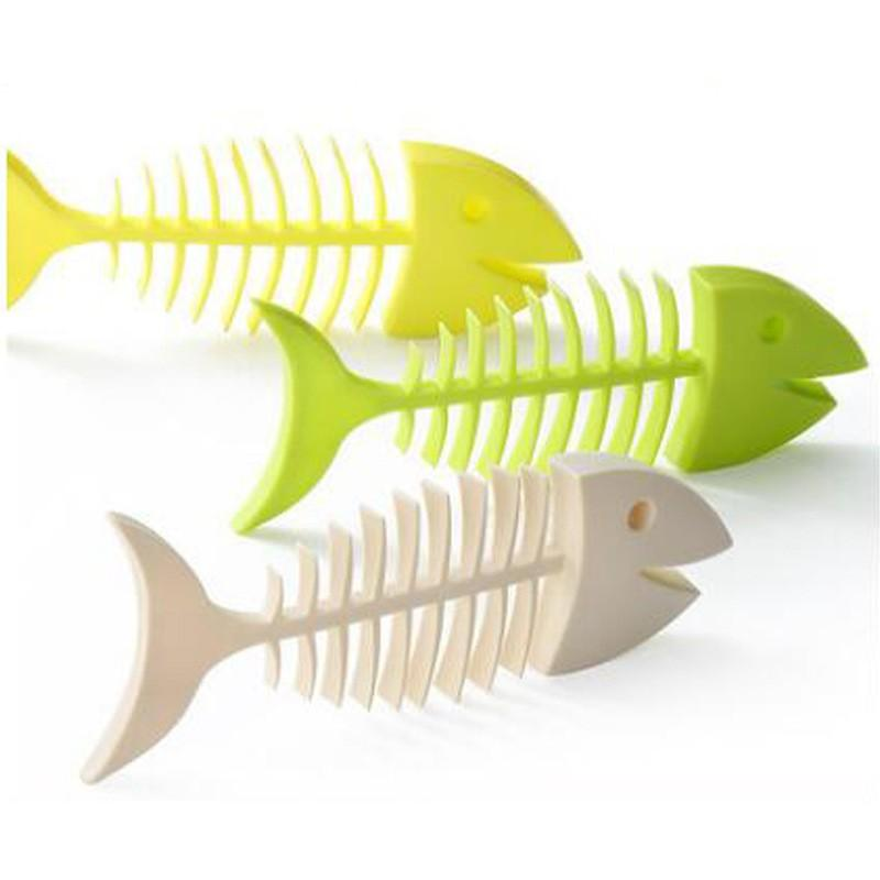 Plastic Fish Bone Shaped Soap Dish Soap Box Tray With Drain For Kitchen Bathroom