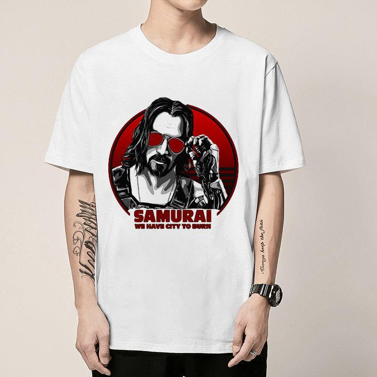 Dandismo maglietta Samurai brevi piani hanno città di bruciare tee abito Colorfast stampa unisex di colore puro della maglietta