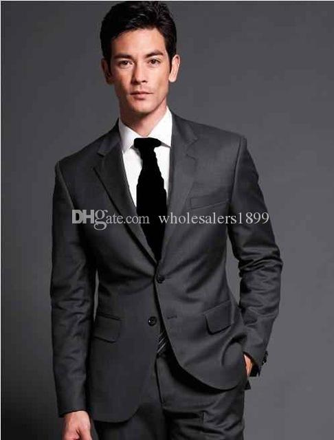 New fashion dark grey notch Lapel Groom Tuxedos,Handsome Slim Fit Men Wedding Groomsmen Business Party Prom Suits (Jacket+Pants+Tie) NO:551