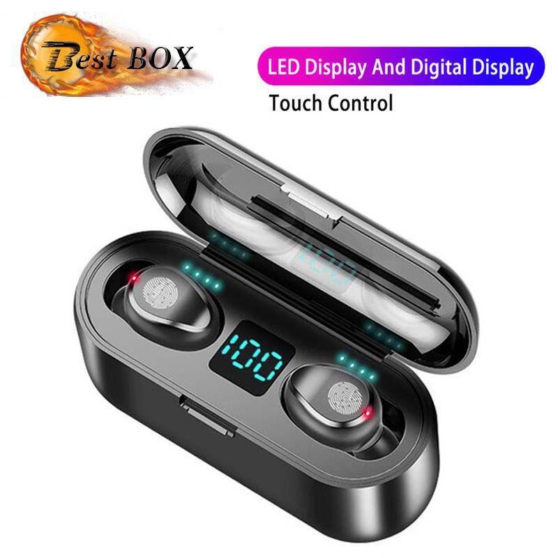 Wireless Headset Bluetooth V5.0 F9 TWS Wireless auricolari Bluetooth portatile di visualizzazione a LED con 2000mAh potere mobile e microfono