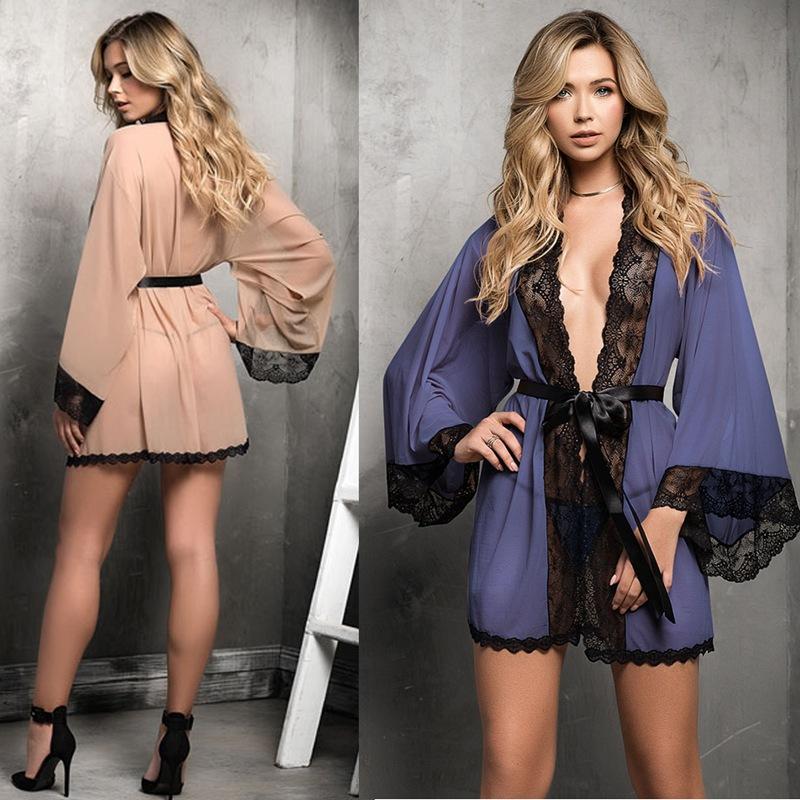 Сетка больших плюс размер женщин Lace Robe Solid Color Perspective Lace Robe сексуальных женщин Привлекательный Главная Ношение