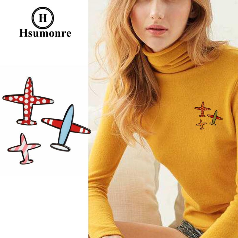 Plane Cartoon Cute Brooches Red Blue Pink Lapel Pins Colorful Acrylic Jeans Denim Shirt Pin Badge Jewelry 3pcs/set