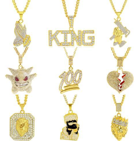 Fashion Men Hip Hop Gold Jewelry Pendant Necklace Hippie Necklace Multi Styles Free Choice Amazon Hot Sale