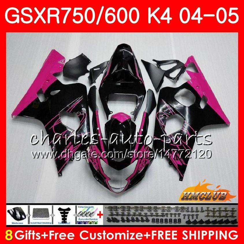 Kit Rose Black Hot voor Suzuki GSX R600 R750 GSXR600 GSX-R750 GSXR 600 750 04 05 7HC.25 GSXR-750 GSXR750 K4 GSXR-600 04 05 2004 2005 Kuip