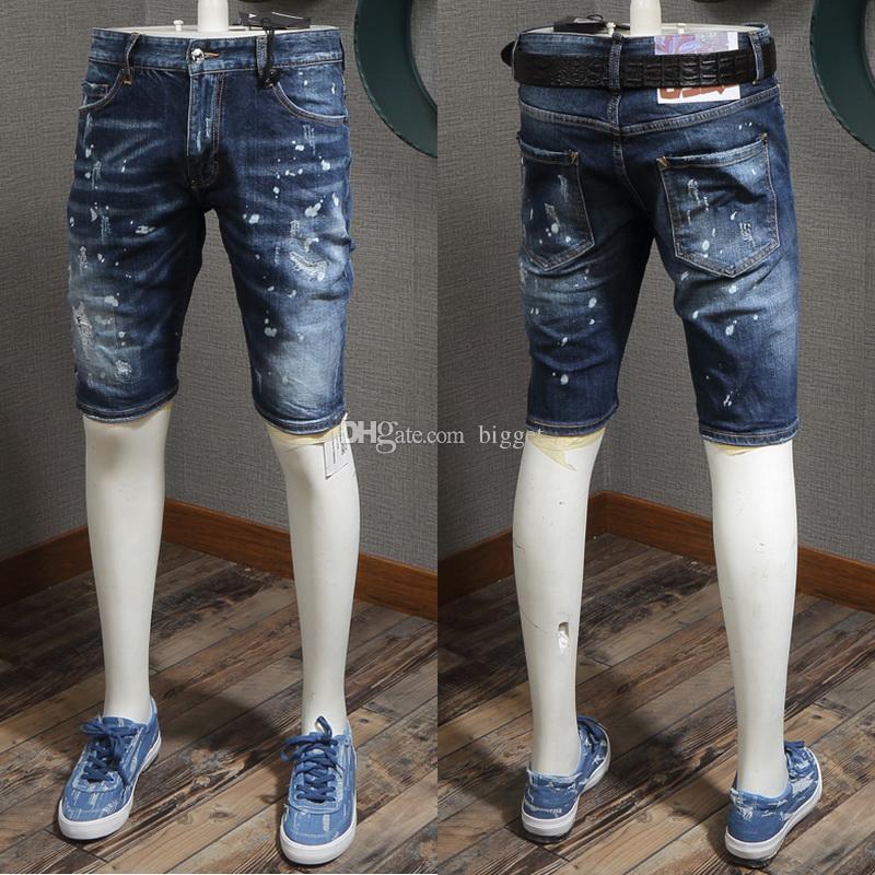 Serin Guy Moda Tasarım SummerJean Şort Denim Şort Boya Sıkıntılı Kısa Kot Erkek 2019 YENI Şort Stods
