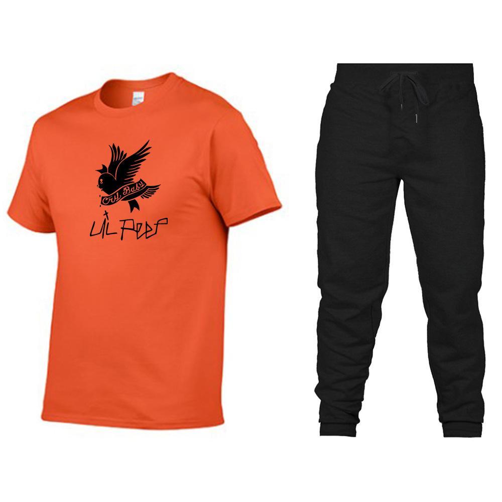 Fatos de Treino Para Homens Da moda 2020 Novos Homens activos Duas Peças para homens Casuais Carta pássaro impressão T-Shirt + Calças 15 Cores Tamanho S-2XL