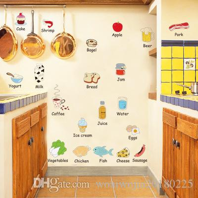 20190621 Children's Early Education Series Wall Sticker Food English Name Wall Sticker Refrigerator Table Decoration Cute Sticker