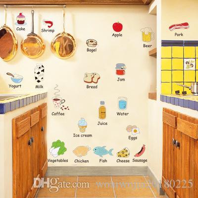 20190621 Infantil Educação Primária Série Adesivos de Parede de Alimentos Nome Inglês Adesivo de Parede Geladeira Decoração de Mesa Bonito Etiqueta