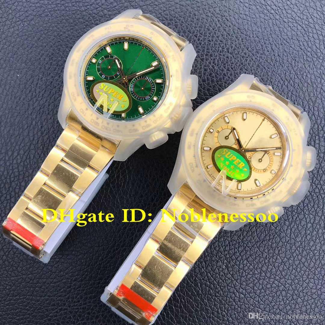 5 colori Mens 904L Steel Swiss Cal.4130 Cronografo Giallo Gold Green 116508 116528 116518 Sport V3 Super N Factory Guarda gli orologi da uomo