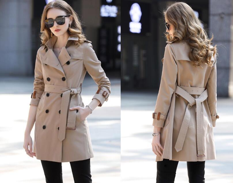 HOT NEW! 여성 B8127F370 S-XXL를위한 패션 잉글랜드 중간 긴 버전 여성 트렌치 코트 / 높은 품질의 새로운 사이트 디자인 더블 브레스트 트렌치