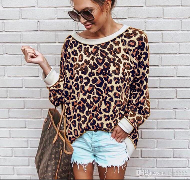 Mulheres Pulôver de lã camisola Legal moda Sexy leopardo em torno do pescoço de manga comprida blusa de rua dança Hip hop outono casual camisola
