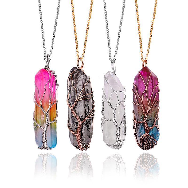 Arc-en cristal de quartz Pendentifs Collier pour femmes Pierres naturelles Hexagonal Prism guérison Point de vie Arbre Chakra Pendulum Yoga Bijoux Charm