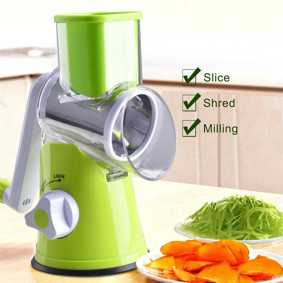 wholesale Vegetable Cutter Round Mandoline Slicer Potato Carrot Grater Slicer with 3 Stainless Steel Chopper Blades Kitchen Tool