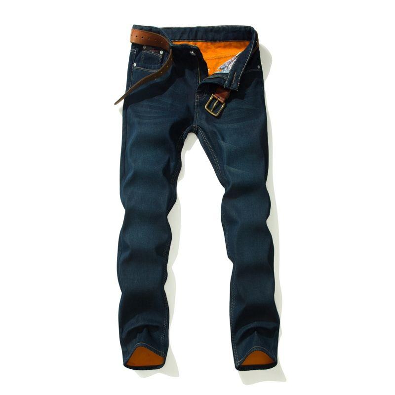 2018 CHOLYL толстые мужские зимние эластичные джинсы теплые флис мужские классические джинсы качество мужской синий джинсовые джинсовые брюки размер 28-40 # 345595