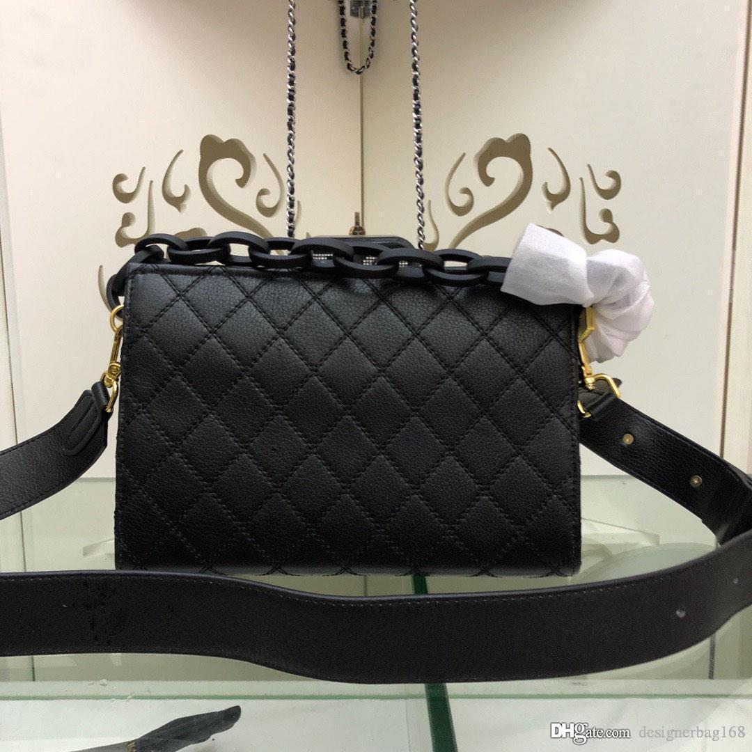 Neue Modedesigner-Frauen-Handtaschen-Chain Crossbody Handtaschen Kleine Schultertaschen echtes Leder Diamant-Gitter-Kuhfell Tasche Tote-Geldbeutel 24cm