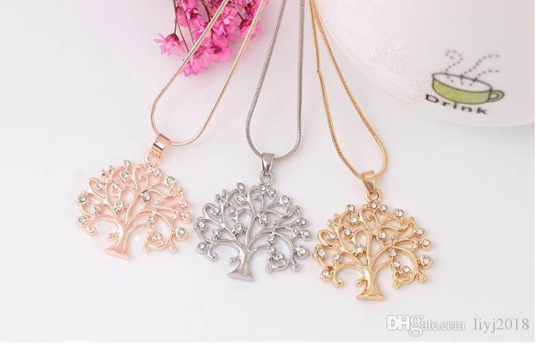 Diamond life tree necklace simple sweet clavicle chain