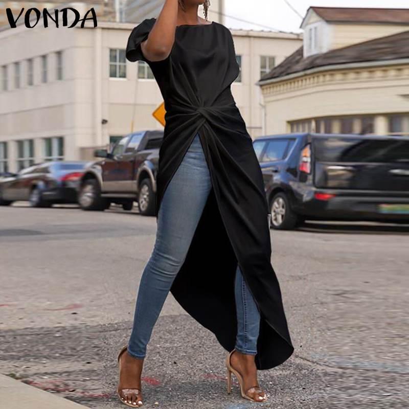 VONDA Women Asymmetrical Blouse 2019 Summer Casual Sexy Split Hem Party Tops Long Ladies Office Shirts Tunic Plus Size Blusas