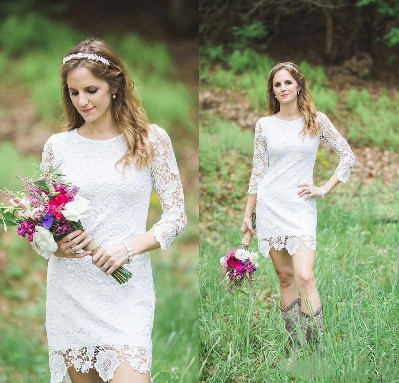 Elegantes vestidos cortos de novia cordón lleno con longitud de la rodilla vestido de novia de la boda del jardín del país mangas largas
