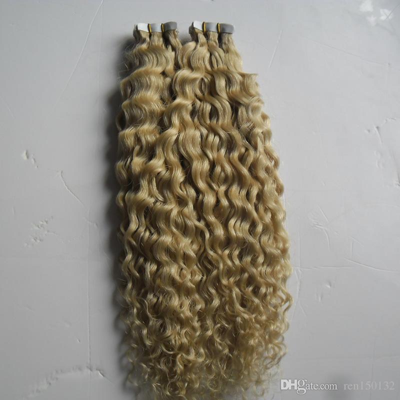 Remy Na Fita Sem Costura PU Humano 100G Fita Em Extensões Do Cabelo Humano Encaracolado 40 pçs / lote extensões de cabelo da fita de trama da pele