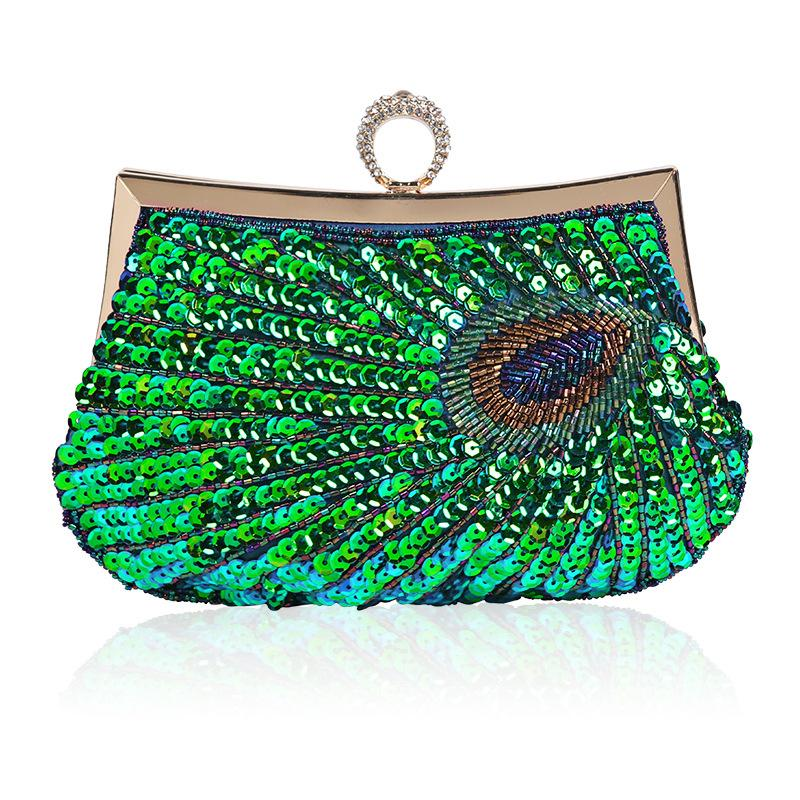 Dinner Bag In Europe and America 2019 Pure Hand-made Beaded Embroidered Ring. Hold Hands and Straddle Women's Bag Obliquely.