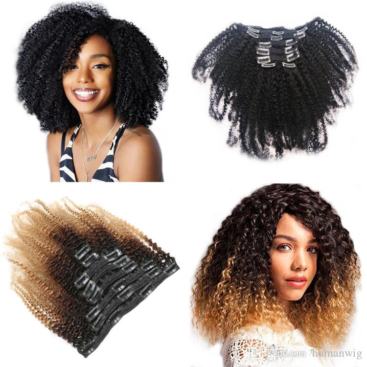 Venda quente Afro Kinky Curly Clipe em Extensão de Cabelo 4B 4C 120G / PC 100% Cabelo Humano Real Ombre 1B / 4/27 Fábrica Direta