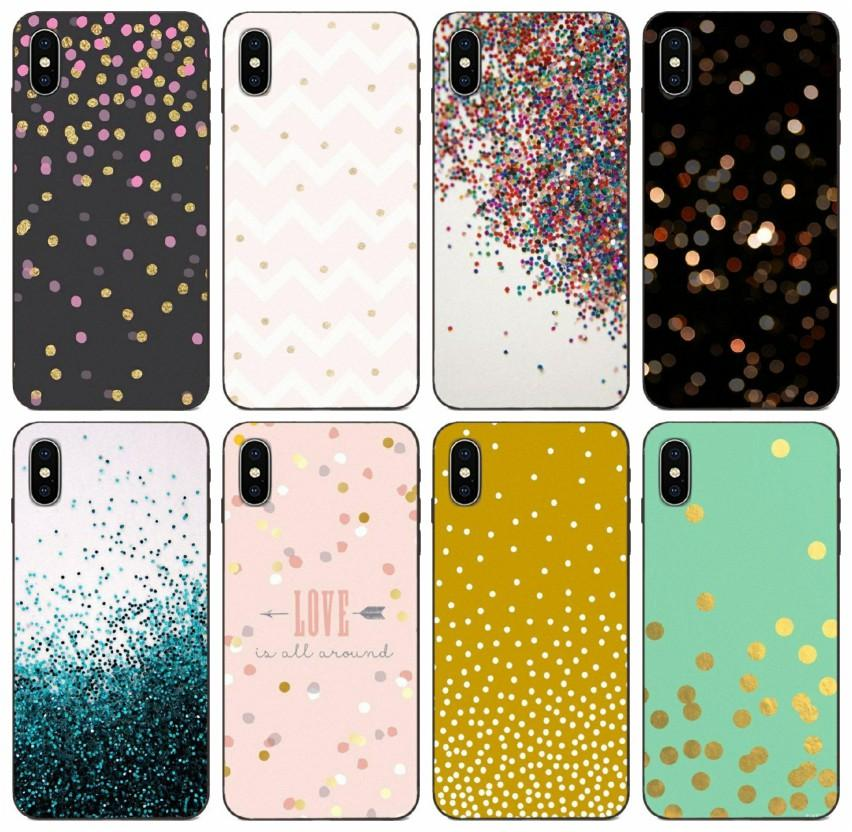 [TongTrade] Pro Kawaii Gold Confetti Dots Wallpaper Case For iPhone 8 7 6s 5s Plus 11 Pro X XS Max Galaxy Note 10 Plus Huawei Y7 Prime Case