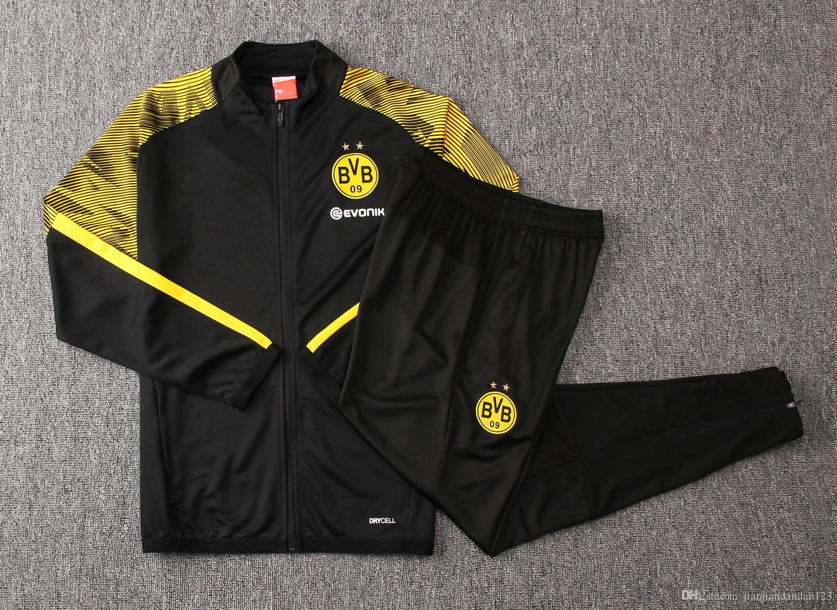 Acquista Buona Qualità Nuove 19 20 Borussia Dortmund Giacca Da Uomo Di Calcio 2020 Jersey BVB Tuta PACO Sportwear Pieno Cerniera Cappotti REUS A Vento ...