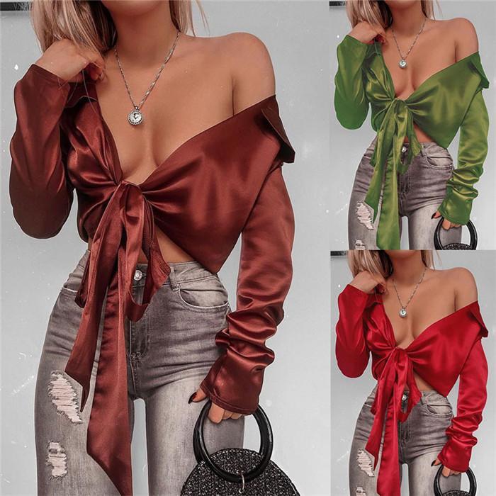 V Yaka Bandaj Bayan Bluzlar Seksi Exposed Navel Gömlek Kadınlar Bahar Uzun Kollu Hırka Gömlek High Street Bluzlar