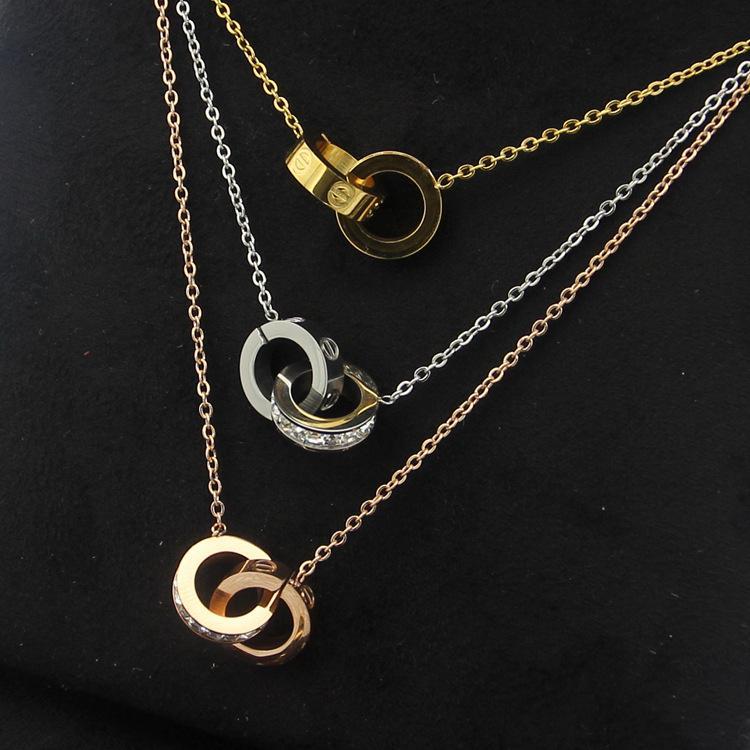 2019 all'ingrosso placcato oro doppio anelli collana pendente choker in acciaio inossidabile 316l due anelli cerchio collana di gioielli per le donne