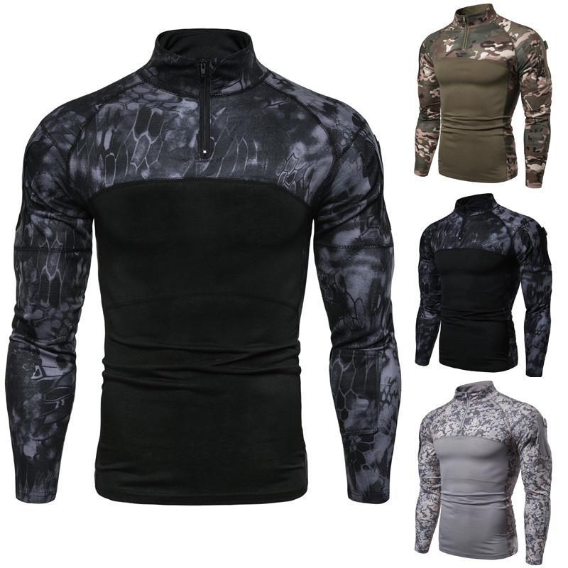 Mens camisetas Esporte Academia Camouflage Splice Stand-up Collar decote Zipper T-shirt Casual solta manga comprida