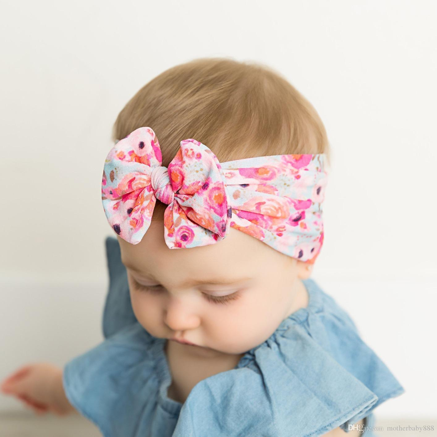 FLORAL BLUE DENIM HEADWRAP WRAP HEADBAND KNOT BOW BABY TODDLER GIRLS NEW