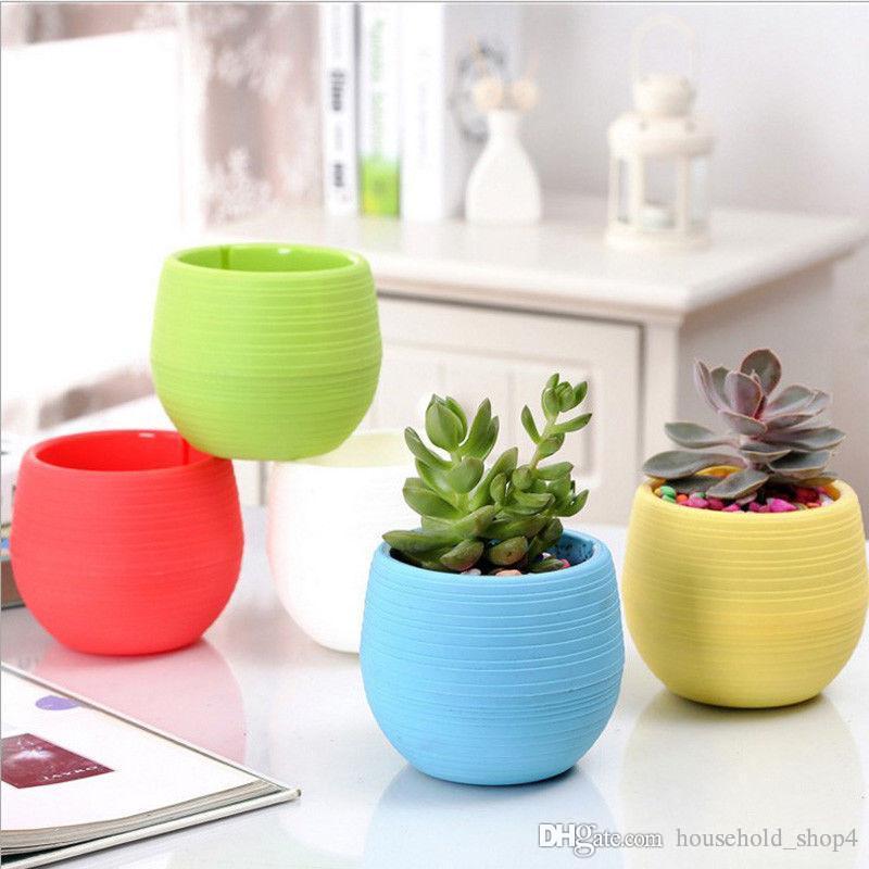 Mini Round Plastic succulent Plant Flower Pot Garden Home Office desktop Decor Micro Landscape Planter unbreakable flowerpot