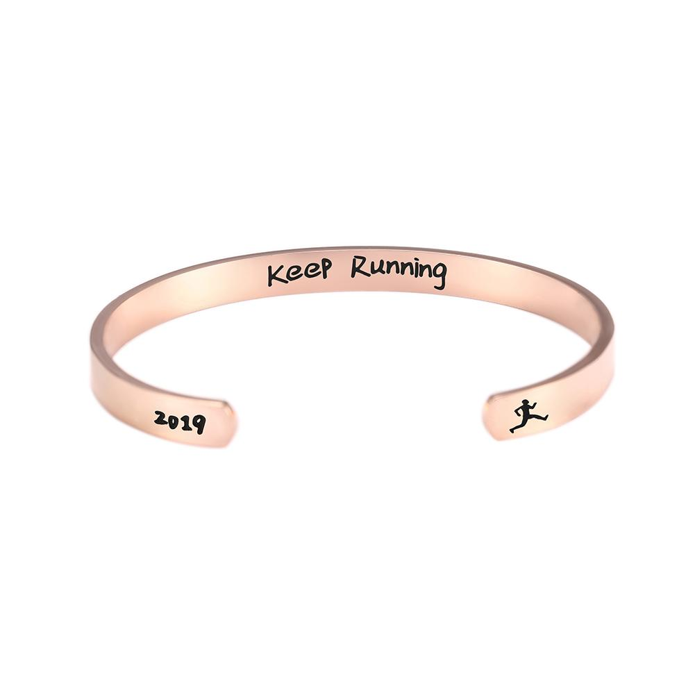 Trendy Stainless Steel Engraved Letter Keep Running Word Bracelet Exquisite C Shape Magnetic Sport Cuff Bangle Gift for Unisex