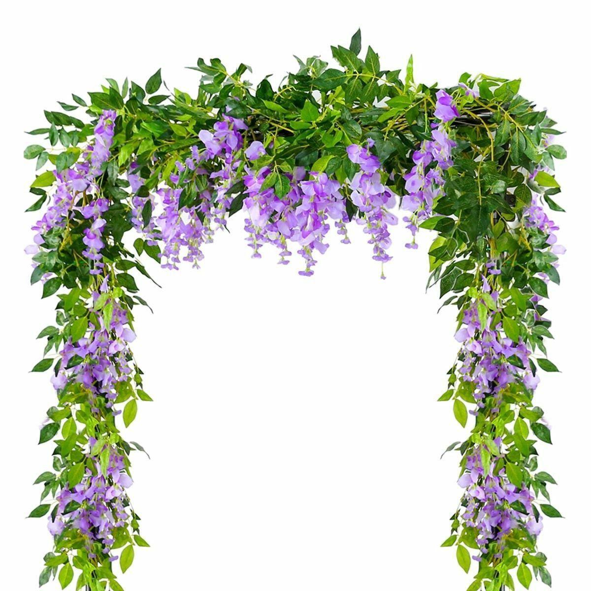 4pcs / lot 6.6ft flor artificial Wisteria Garland Vine Rattan Hanging decoración de la boda de la guirnalda para Naturaleza / regalos de la decoración de interiores