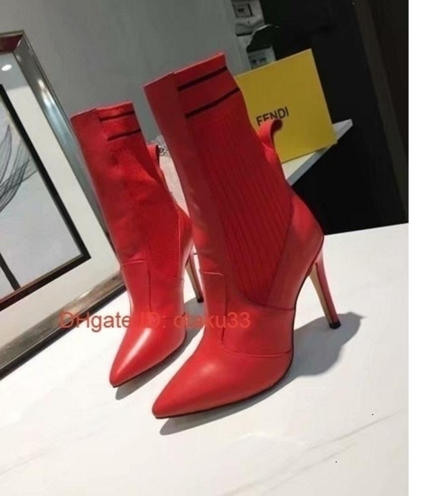 Moda Bilek Önyükleme için ince yüksek topuklu Patik Kauçuk Sole İnek Deri Bayanlar Günlük Ayakkabılar 09174 Womens