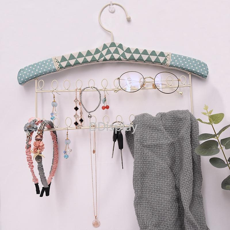 [DDisplay]Creative Jewelry Display Linen Green Wall Hanging Necklace Jewelry Rack Earring Iron Stands Bracelet Lovely Storage Racks