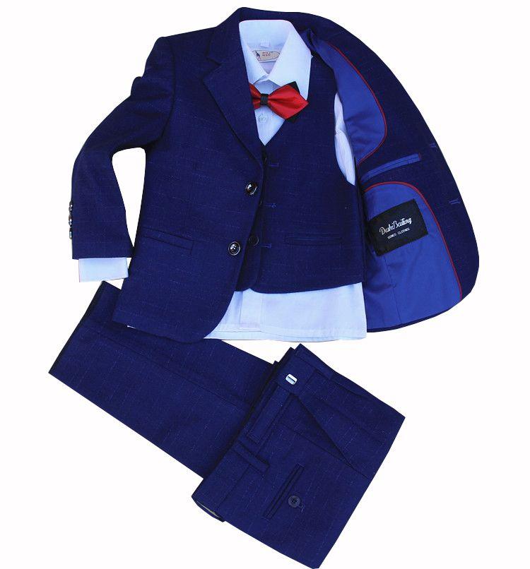 أطفال مدرسة 3PCS الصدرية + بانت + السترة البدلة الرسمية للبنين البدلة حزب اللباس مع البدلة ربطة زهرة بنين الزفاف رقص
