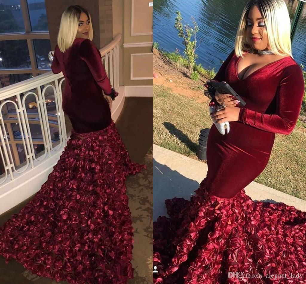 Bunrgundy Velvet Plus Размер выпускного платья 3D роза цветочные русалки погруженные V-образным вырезом с длинными рукавами Оградки де Вечернее вечерние платья