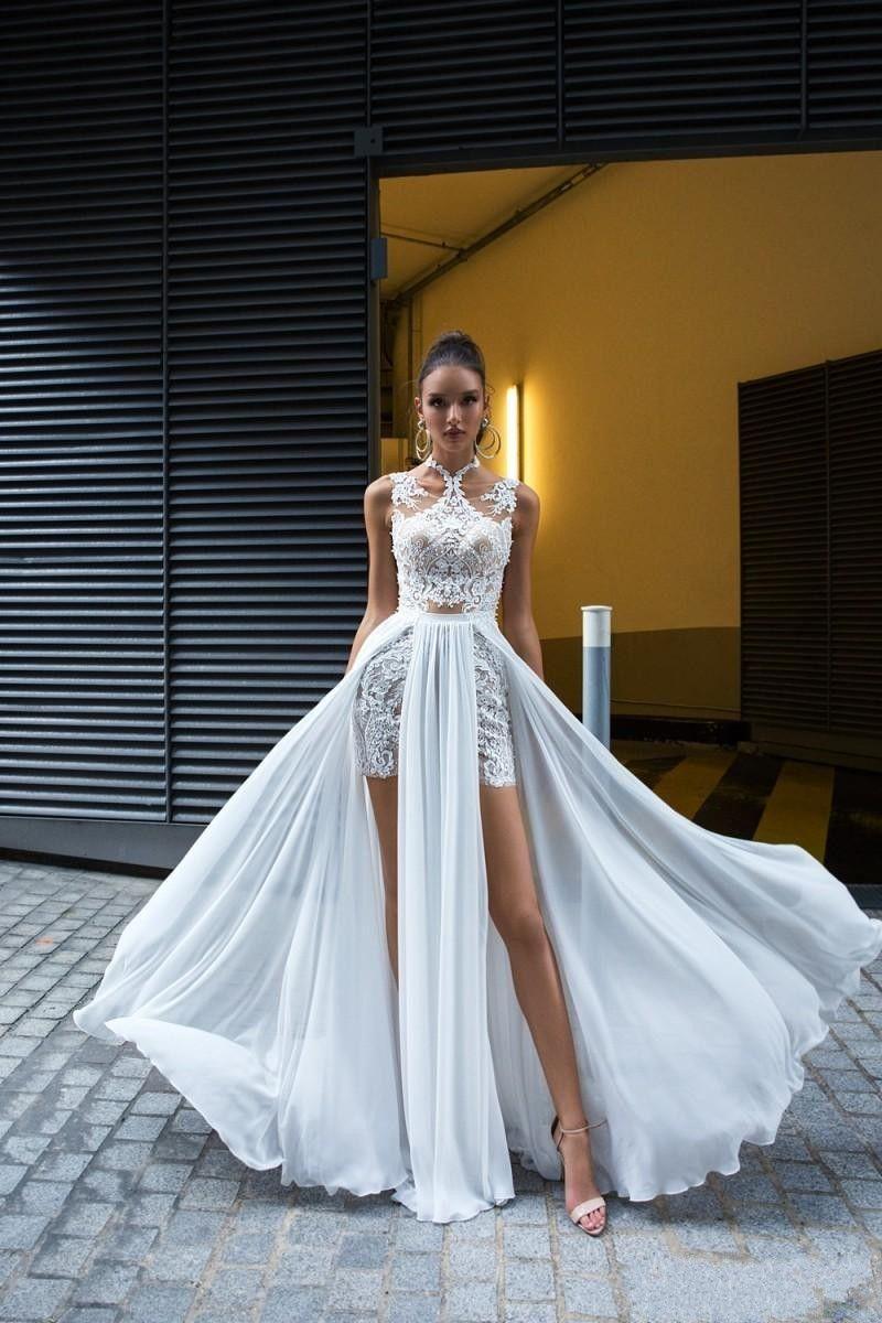 Discount 2019 Cheap Vestido De Novia Plus Size Modest Chic Bohemian Spring  Summer Beach Wedding Dresses Detachable Skirt Lace Bridal Gowns Bridal ...