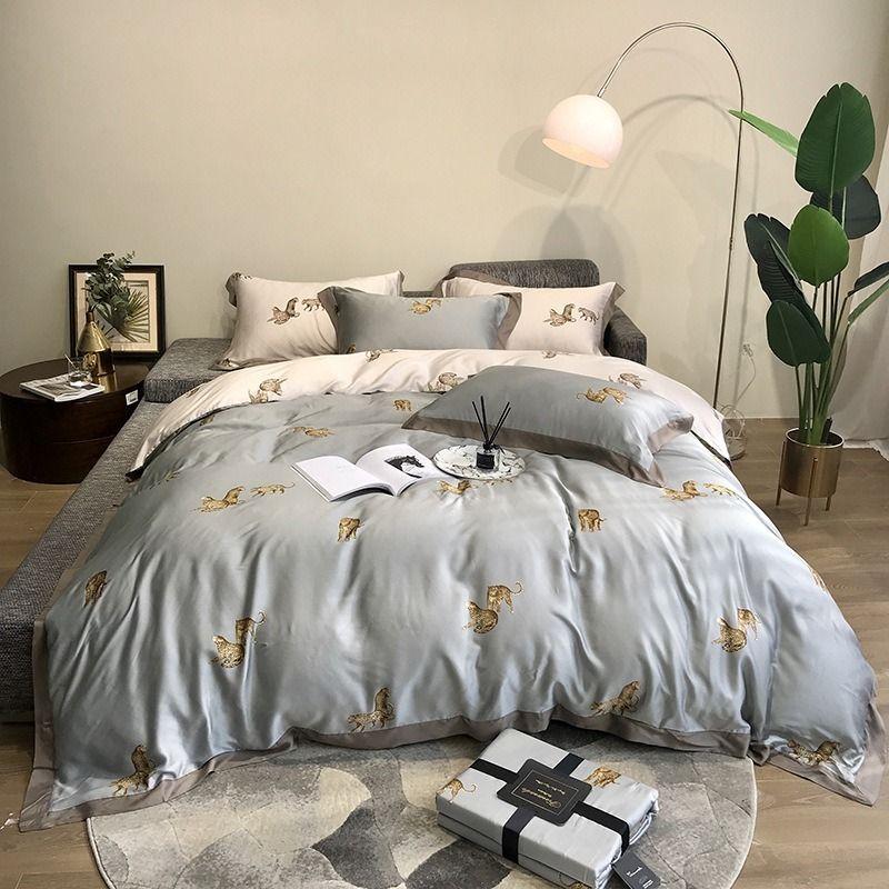 라이트 럭셔리 스타일 (80) 양면 텐셀 표범 네 조각 얼음 실크 멋진 침대 시트 세트 침대 이불 커버 침구 린넨