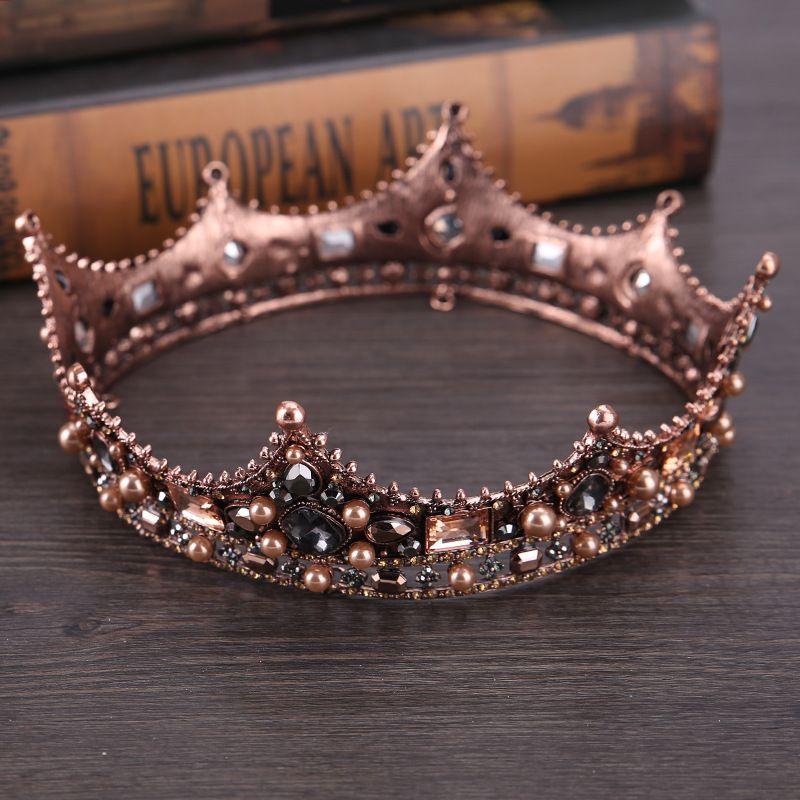 European-style retro palace queen Baroque Black Bride round crown head ornaments