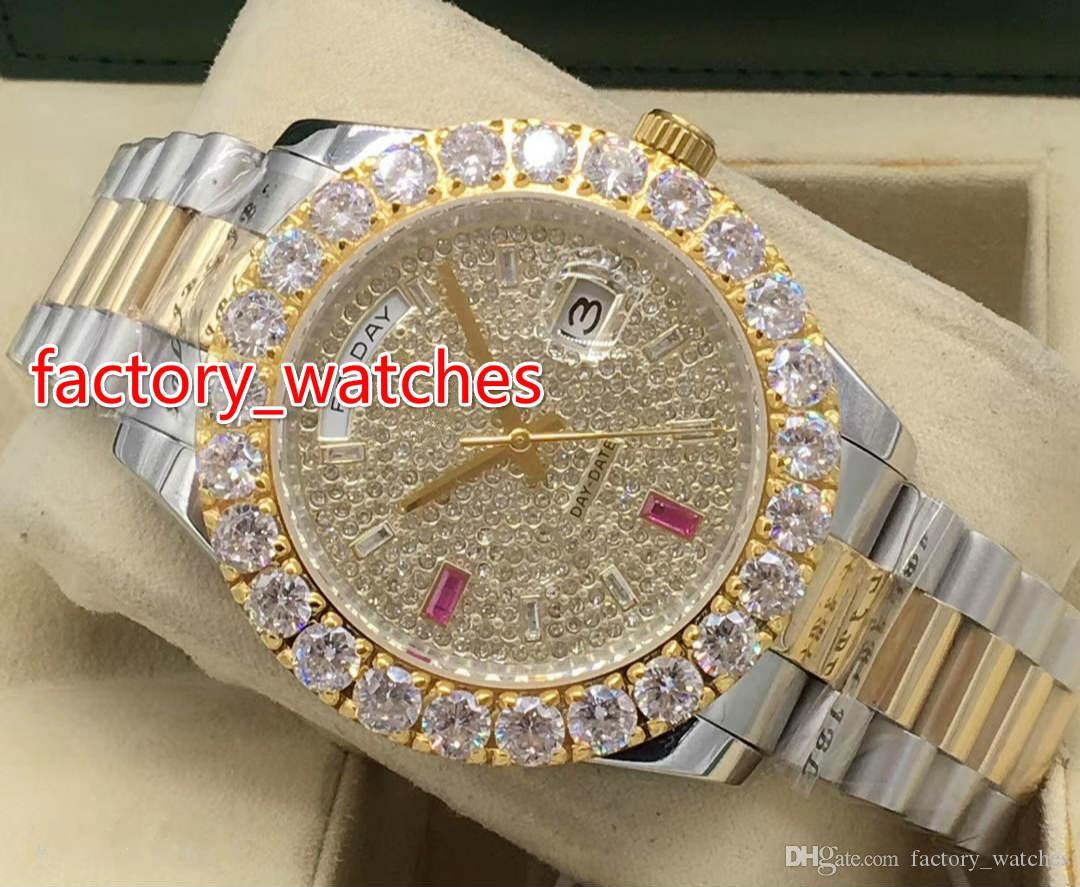 Nouveau style Prong Set Diamond Montres or jaune Deux tons 43mm Plus grand cadran de diamant / lunette Montre de mode automatique pour hommes
