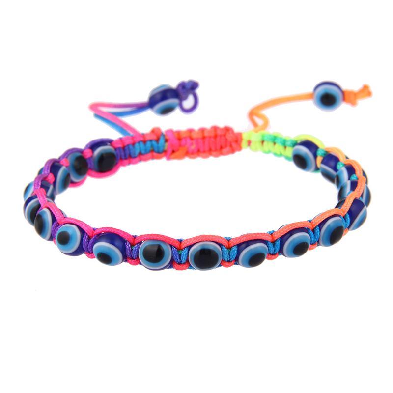Mal olho trançado corda pulseiras para mulheres homens Hamsa mão para proteção pulseiras coloridas