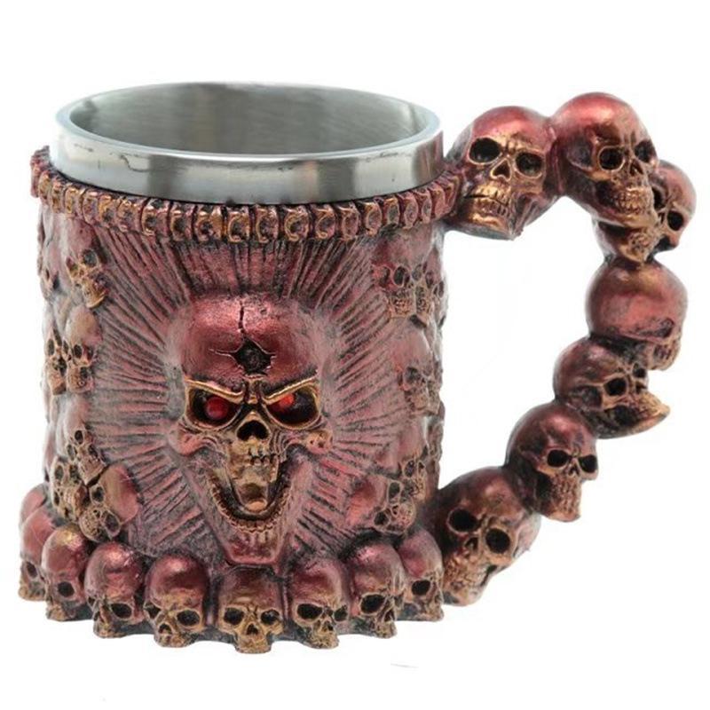 해골 해골 컵 다채로운 3D 해골 머그컵 스테인레스 스틸 머그컵 파티 크리에이티브 음주 유리 할로윈 바 칵테일 컵 GGA2412