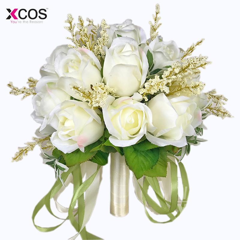 Bridal High Quality Ivory Rose Throw Wedding 18 Flowers Bridesmaid Bouquet C19041701
