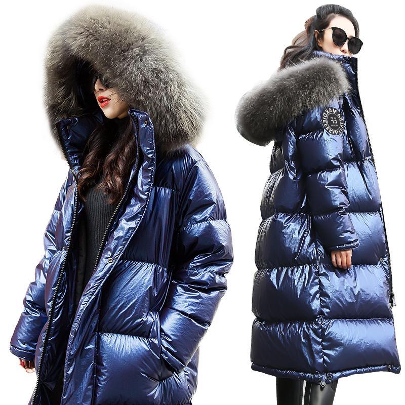 Mulheres jaqueta 2019 Brasão New inverno grandes COLAR REAL DA PELE mulheres longo parágrafo espessamento Aqueça com capuz Mulher Parka YRF14 DT191024