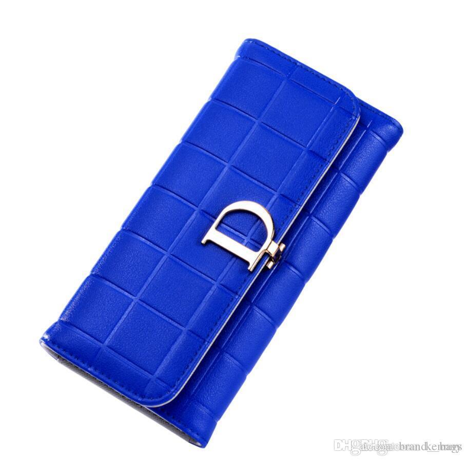 Diseño de cuero de lujo monederos largas de la moda carpetas de las mujeres de manera femenino de los bolsos de embrague titular de la tarjeta monedero vendedor caliente de los bolsos