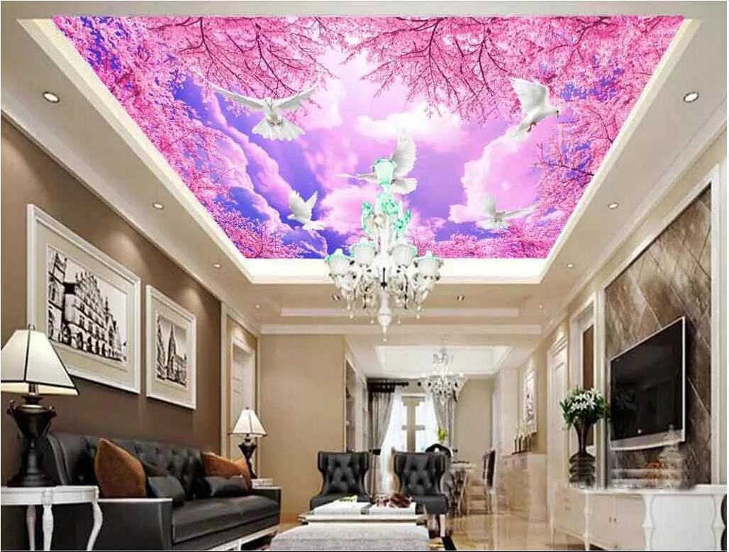 Murales de techo 3d papel tapiz personalizado foto romántica flor de cerezo cielo azul decoración del hogar sala de estar murales de pared 3d papel tapiz para paredes 3 d